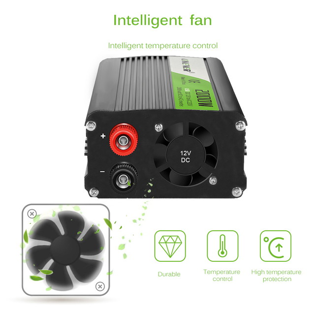 2000W Car Power Inverter Converter DC 12V to AC 220V Modified Sine Wave Power Intelligent Temperature Control USB Charger