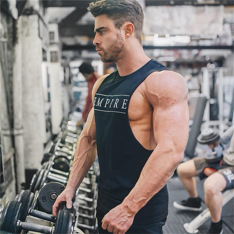GYKZ 2018 Summer Newest Brand Mens Curved Hem Patchwork Gyms Stringers Vest Bodybuilding Clothing Fitness Man   Tanks     Tops