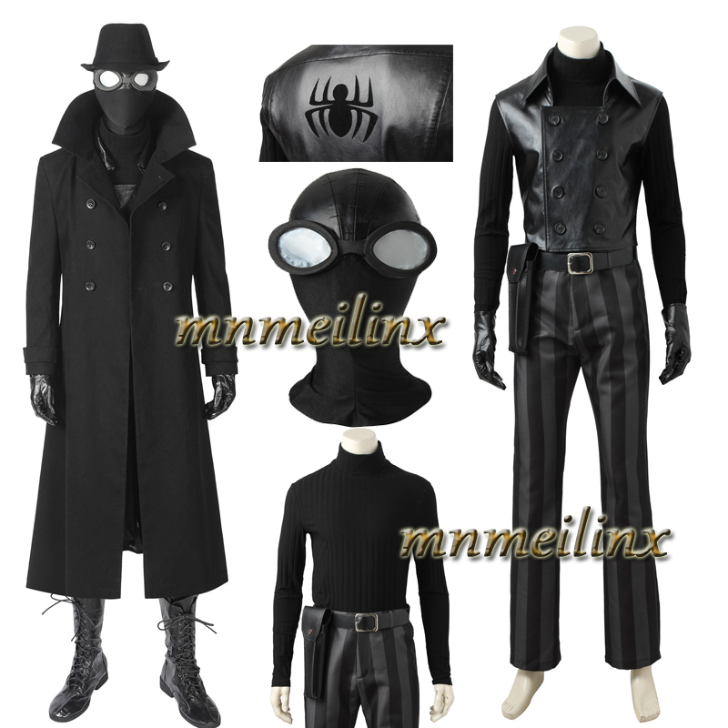 Spiderman Noir Cosplay Costume Halloween Customize Fancy Outfit Trench Unisex