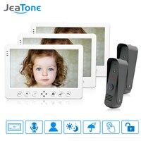 JeaTone 10 Video Door Phone Intercom Doorbell System White Touch Button Indoor Monitor IR Night Camera