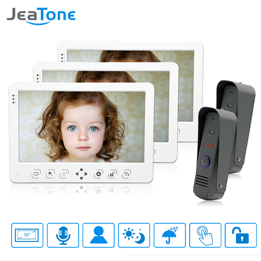 JeaTone 10 Video Door Phone Intercom Doorbell System White Touch Button Indoor Monitor IR Night Camera  Home Security Kit 3V2 jeatone 7 lcd monitor wired video intercom doorbell 1 camera 2 monitors video door phone bell kit for home security system