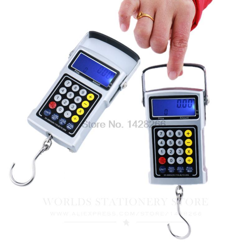 Max 50kg Electronic express scales portable spring scale Clock thermometer Calculator Valuation Blue backlight Tape