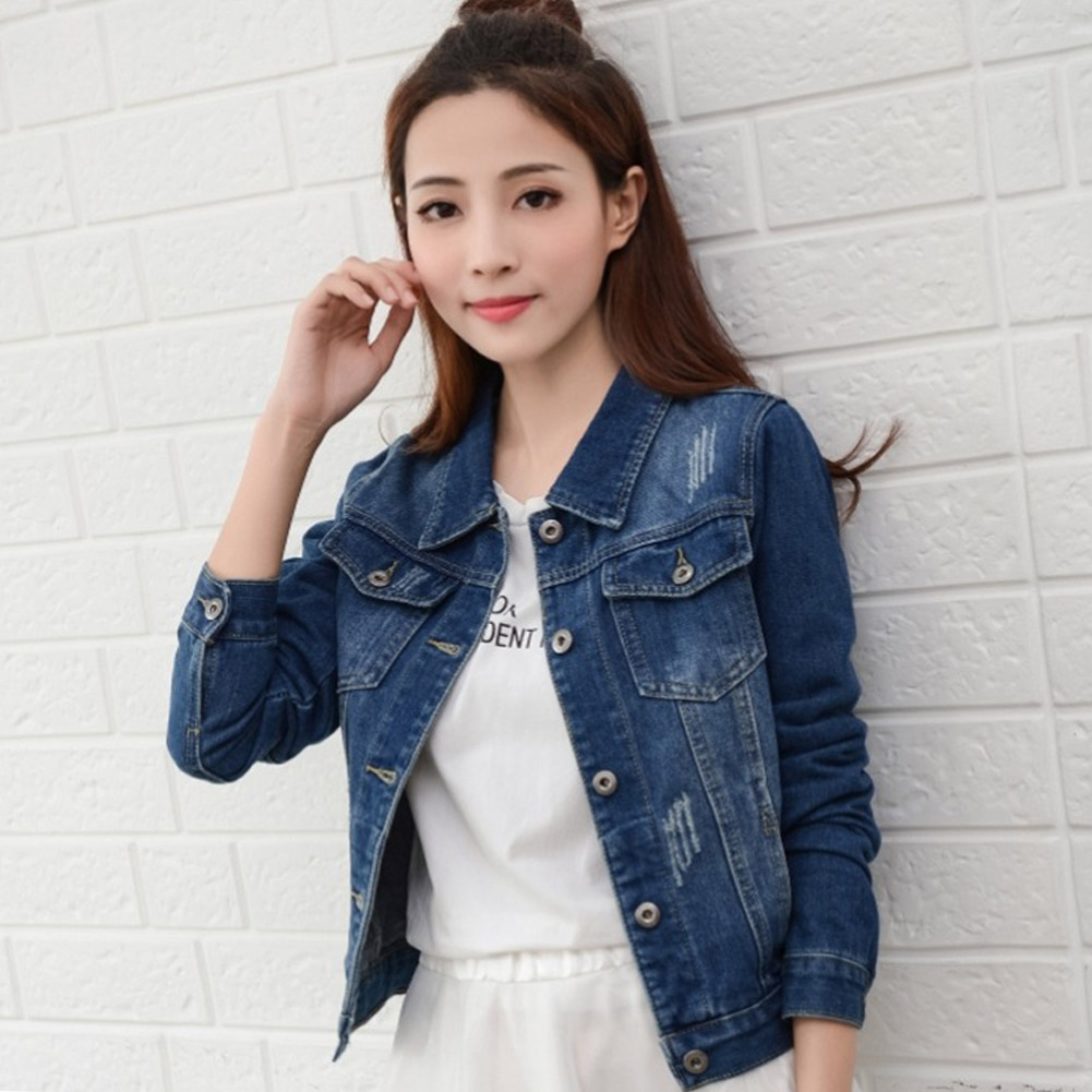 Women Denim   Jacket   Coat Blue Black Autumn Casual Turn Down Collar Jeans Outerwear Coat Female Spring Ladies   Basic     Jackets