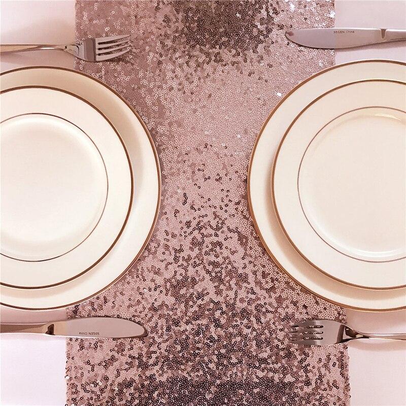 Image 2 - 1 ピース 30 × 275 センチメートル 30 × 180  センチメートルゴールドローズゴールドシルバースパンコールテーブルランナーパーティーテーブル布結婚式装飾テーブルランナー     グループ上の ホーム
