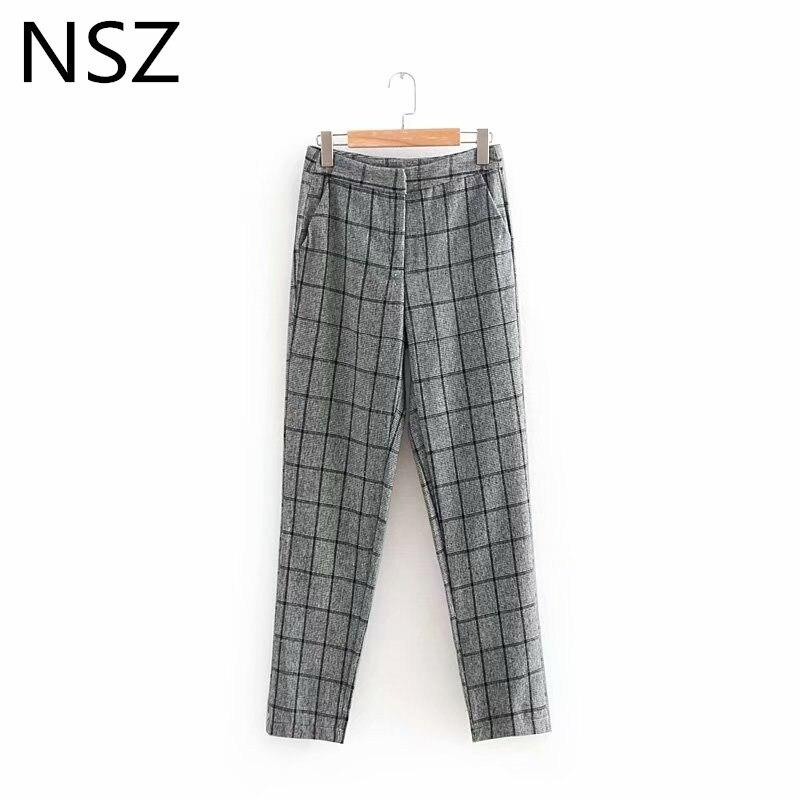 NSZ Women Plaid Suit Pants Female Trousers Ladies Work Business Pants