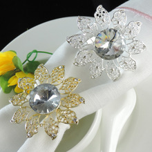 5PCS silver plated diamond pearl napkin buckle ring meal gold and