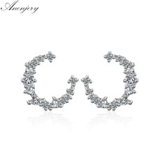 ANENJERY 925 ayar gümüş göz kamaştırıcı CZ düzensiz hilal ay damızlık küpe kadınlar için küpe oorbellen S-E618