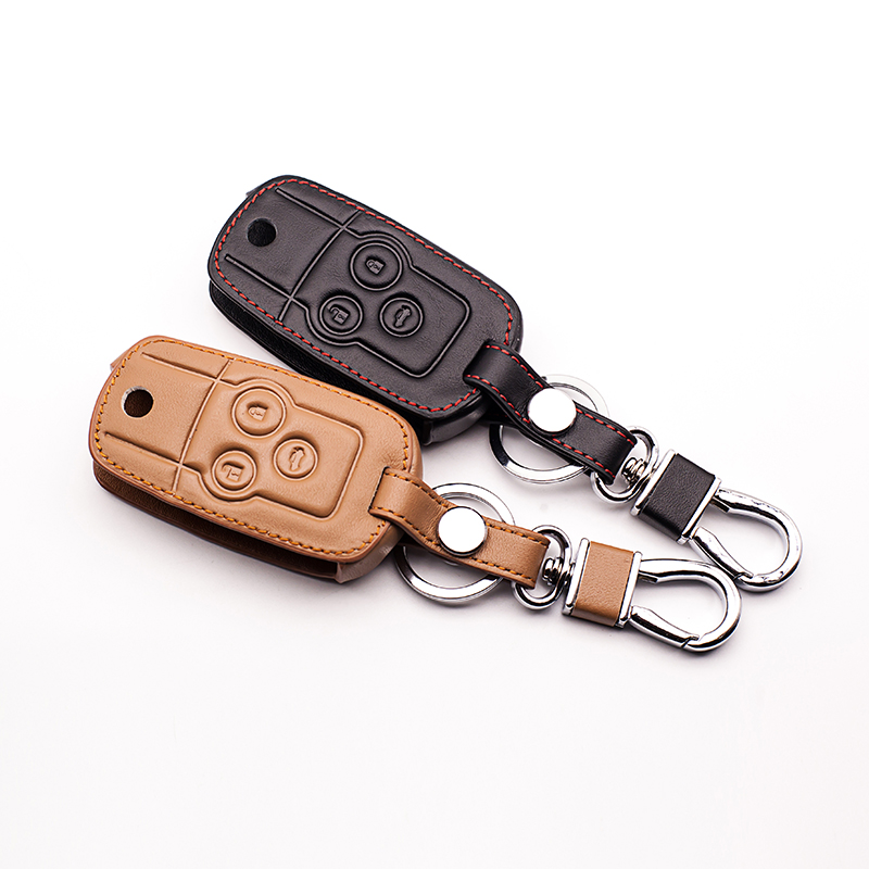 Hot Sale Genuine Leather Belt Keys for Honda CRV 3 Buttons remote control Flip Car Key Chain Wallet Bag Car Keychain Accessories