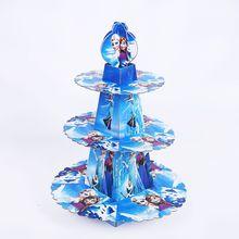1pcs/set  Frozen Anna And Elsa Shower Cartoon Kids Birthday Party Decoration Supplies Cardboard Cupcake Stand 24 Cupcakes