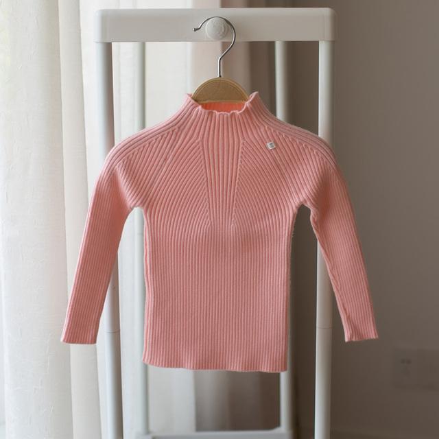 2017 primavera e no outono novo bebê menina camisola de malha crianças meia-alta-camisola pescoço tight-fitting pullover assentamento camisola
