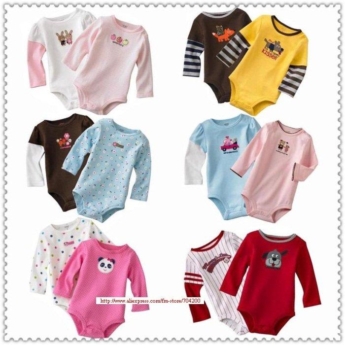 10 шт./лот, детские комбинезоны с длинными рукавами, детские пижамы