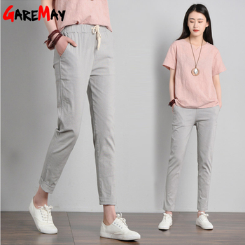 Garemay Cotton Linen Casual Solid Color Pants