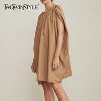 TWOTWINSTYLE Sleeveless Dress Womens V Neck Cloak Sleeve Ruched Big Size Midi Dresses Summer Fashion Casual Female Clothing 2018