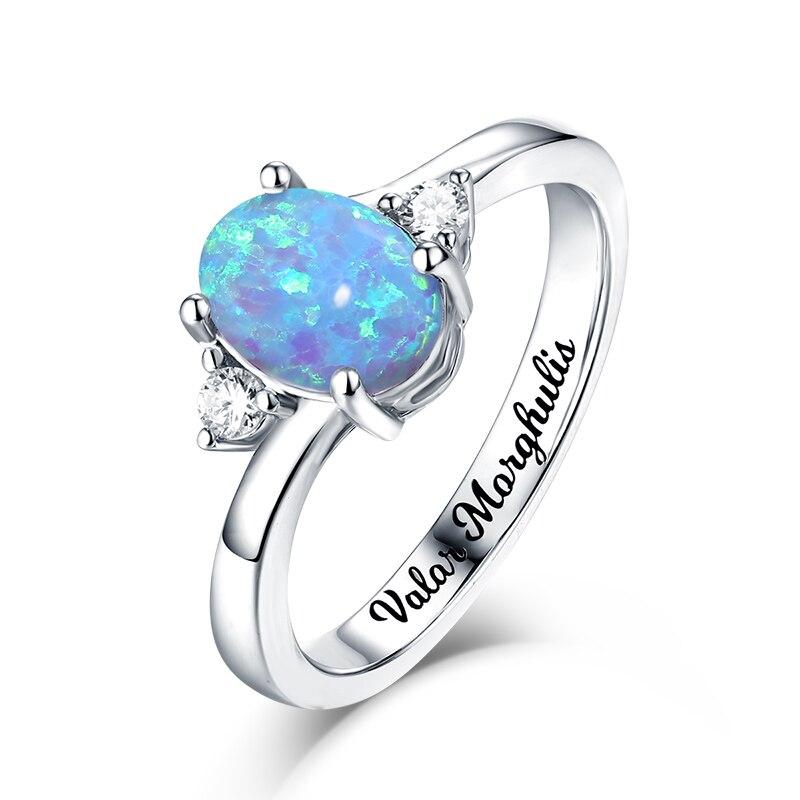 Bague opale ovale AILIN Unique pour cadeau d'anniversaire bague bijou personnalisée pour femmes bague gravée pour dame pour spécial