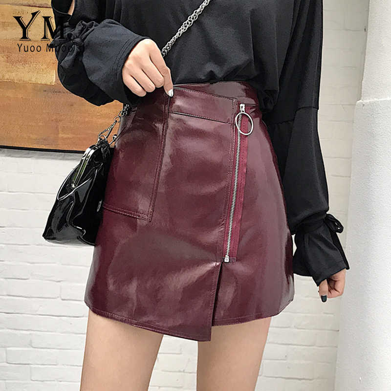 3b17da4af31e3d YuooMuoo Sexy High Waist PU Leather Skirt Women Slim Zipper Pocket Skirts  Womens Spring Autumn Elegant