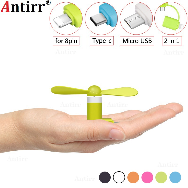 Mini USB Fan 2 in 1 Micro USB Type C 8pin plug Flexible Cooling hand Fan portable Summer Cool laptop Notebook Smartphone Cooler 2 in 1 usb powered flexible neck led white light 2 blade cooling fan