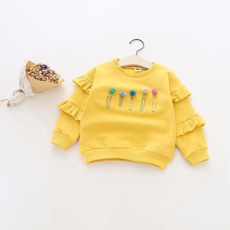 baby girl autumn fleece colorful fur balls pencil printed hoodies sweatshirt (9)