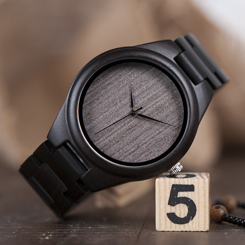 BOBO BIRD Mens Black Ebony Wooden Watches Wood Links Causal Quartz Wrist Watch in Gift Box custom logo 9