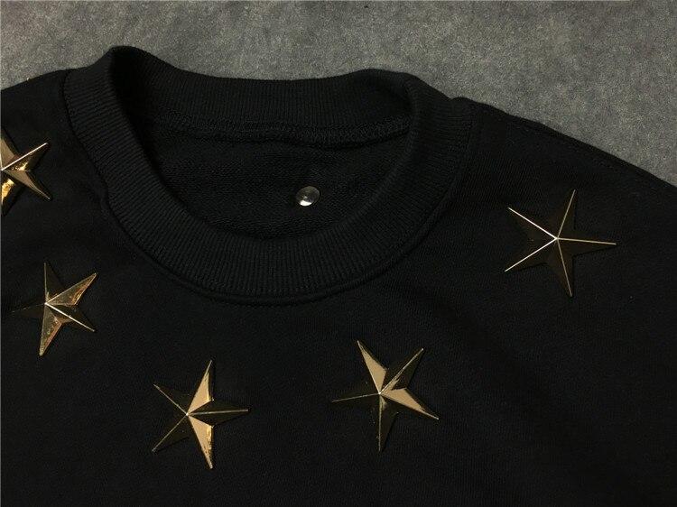 Nouveau hommes 7 4 metal stars sweats à capuche sweats à capuche velours coton Drake épais polaire Street Hip hop # E155 - 3
