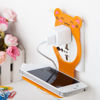 Creative bear mobile phone charger bracket fixed electric charger rack Multi-function mobile phone charger holder 1 pc mobile phone holder cartoon mini portable fixed holder home supplies mobile phone remote control bracket holder