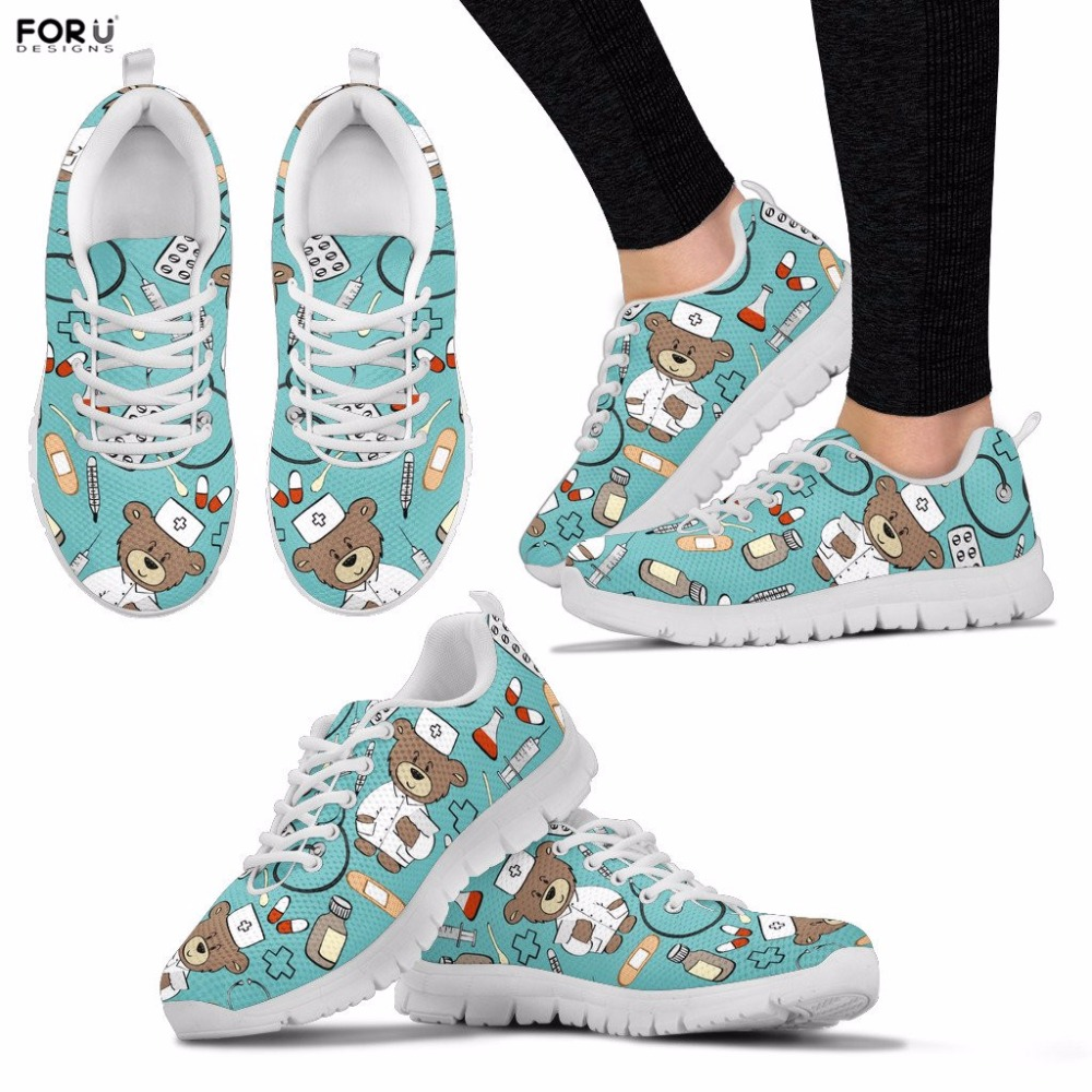 FORUDESIGNS Women Shoes Nurse Pattern Sneakers for Teenager Girls Ladies Spring Walking Shoes Casual Lace-up Flats Footwear 2018 instantarts casual women s flats shoes emoji face puzzle pattern ladies lace up sneakers female lightweight mess fashion flats