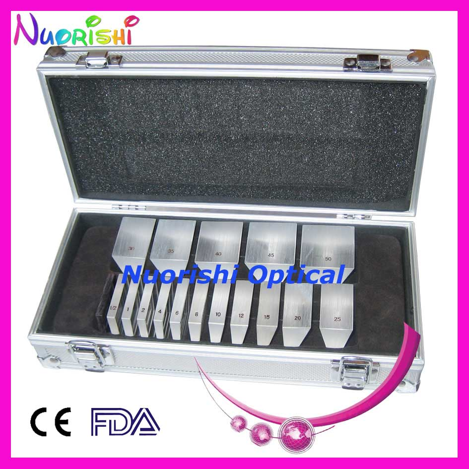 LS16 Ophthalmic Optical Optometry Glass K9 Loose Prism Bars Kit Set Aluminum Case Packed  Free Shipping