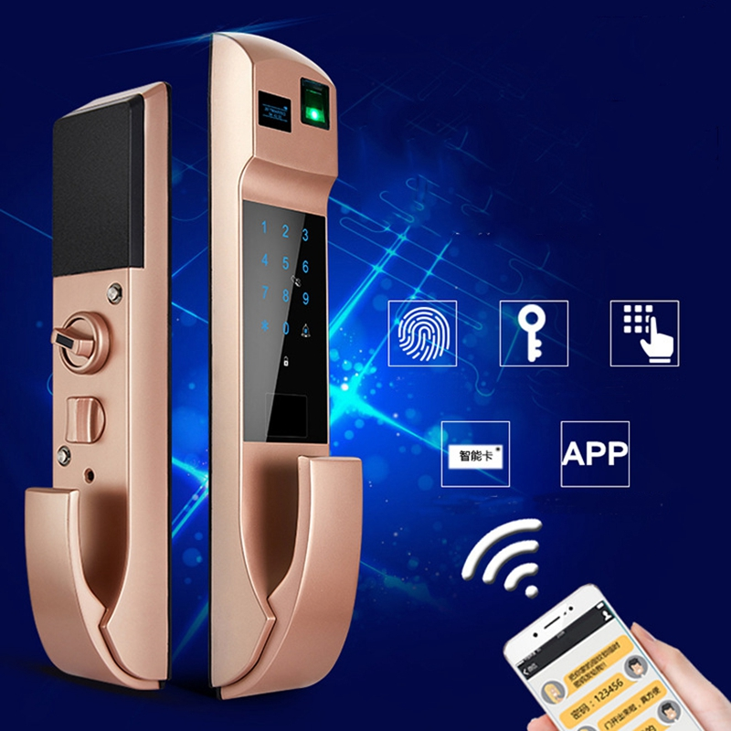 High Grade Modern European Style Aluminum Alloy Fingerprint Smart Door Lock Sliding Door Lock For Living Room Bedroom