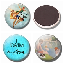 Diving Refrigerator Magnets 30 MM Magnet Fridge Glass Dome Magnetic Stickers for Fridge Decoration Home Decor Swimmer's Gift