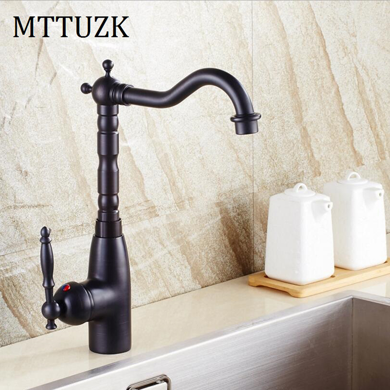 MTTUZK Oil Bubbed Retro Black Bathroom Faucet Single Handle Deck Mounted Kitchen Vessel Sink Faucet Hot