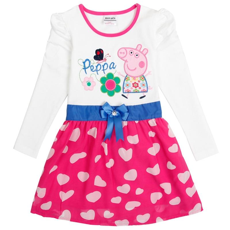 cartoon kids Girls dress 2-6T nova kids wear children's clothing long sleeves baby kids casual fashion hot selling child frocks