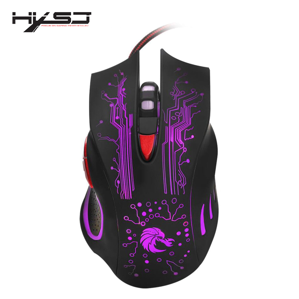 HXSJ H700 Adjustable 5500DPI Professional USB Wired Optical 6 Buttons Gaming Mouse with LED Backlight Ergonomical Design-in Mice from Computer & Office