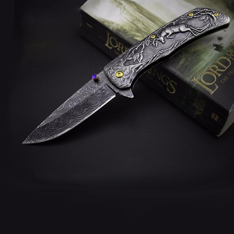 Купить с кэшбэком Retro pattern relief Tactical Folding Knife Vintage Case Pocket Knife Survival Knife Collection Exquisite Craf