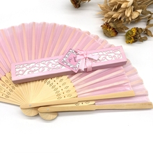 1pcs Luxurious Silk Fold hand Fan in Gift Box (Black; Ivory ; pink)