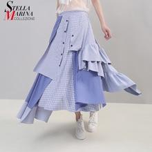 2019 koreański styl kobiety lato asymetryczne niebieskie paski spódnica na co dzień Ruffles w pasie panie stylowa spódnica Robe Femme 5243