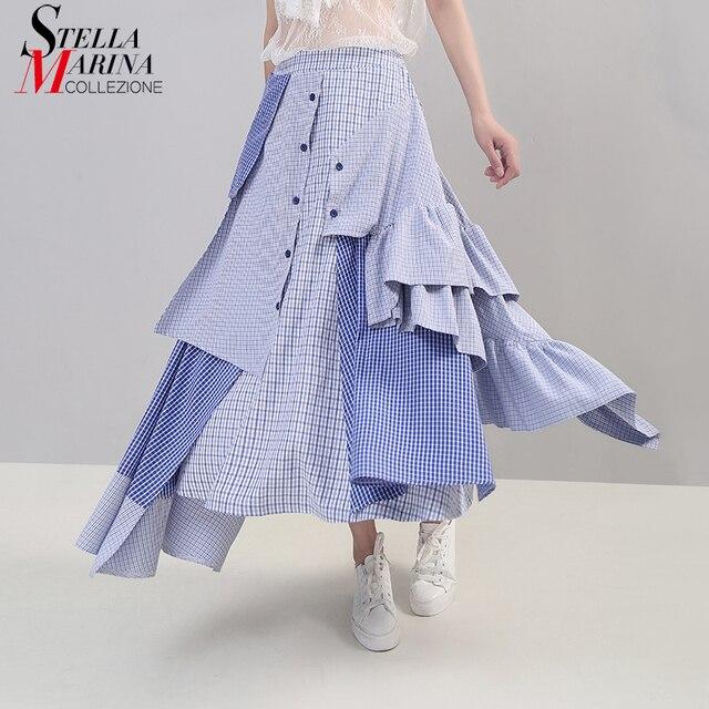2019 קוריאני סגנון נשים קיץ סימטרי כחול פסים מקרית חצאית קפלי אלסטי מותניים גבירותיי אופנתי חצאית Robe Femme 5243