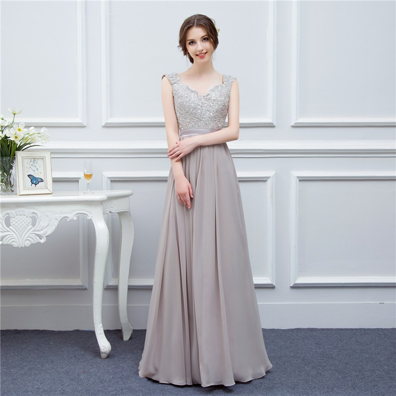 silver grey cap sleeve high quality applique floor length long chiffon bridesmaid dress wedding event dress maid of honor 2