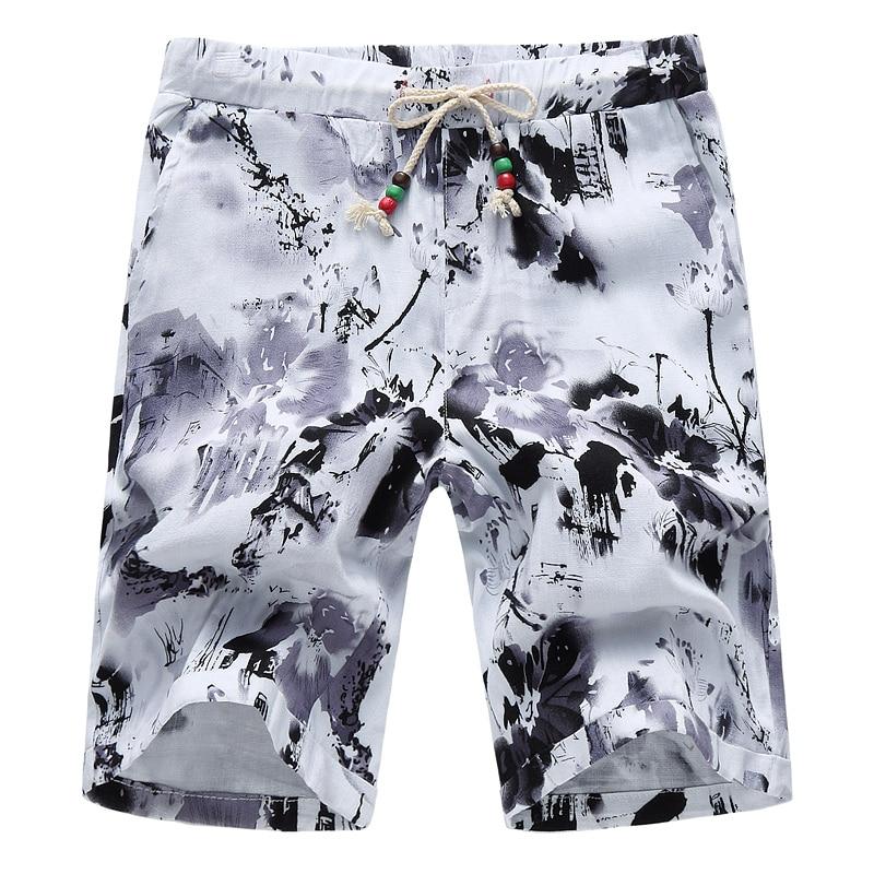 2019 Mens Flower Shorts Asian Size S - 6XL Summer Shorts Men Cotton And Linen Fabric