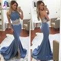 Sexy duas peças da frente dividir mermaid prom dress cetim apliques halter backless evening partido vestido mulheres formais dress