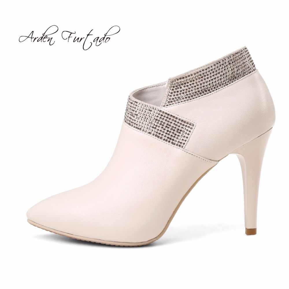 Arden Furtado 2018 spring new style shoes for woman genuine leather high  heels 10cm stilettos crystal 41910027c13a