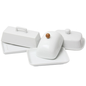 Quail 7 Inch Nordic Butter Sealing Tank,Ceramic,White,with Lid ,Cheese Server Storage Keeper Tray Cheese Dish(China)