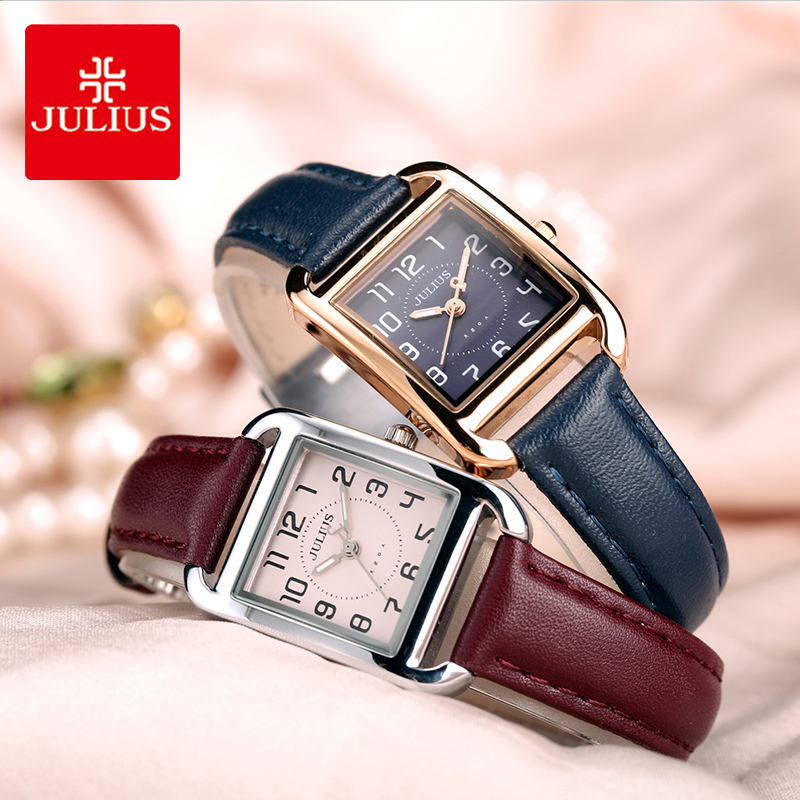 Julius Retro Rectangle Leather Watch Woman Luminous Pointer Small Dial Quartz Dress Wristwatches Female Love Gifts Reloj Mujer