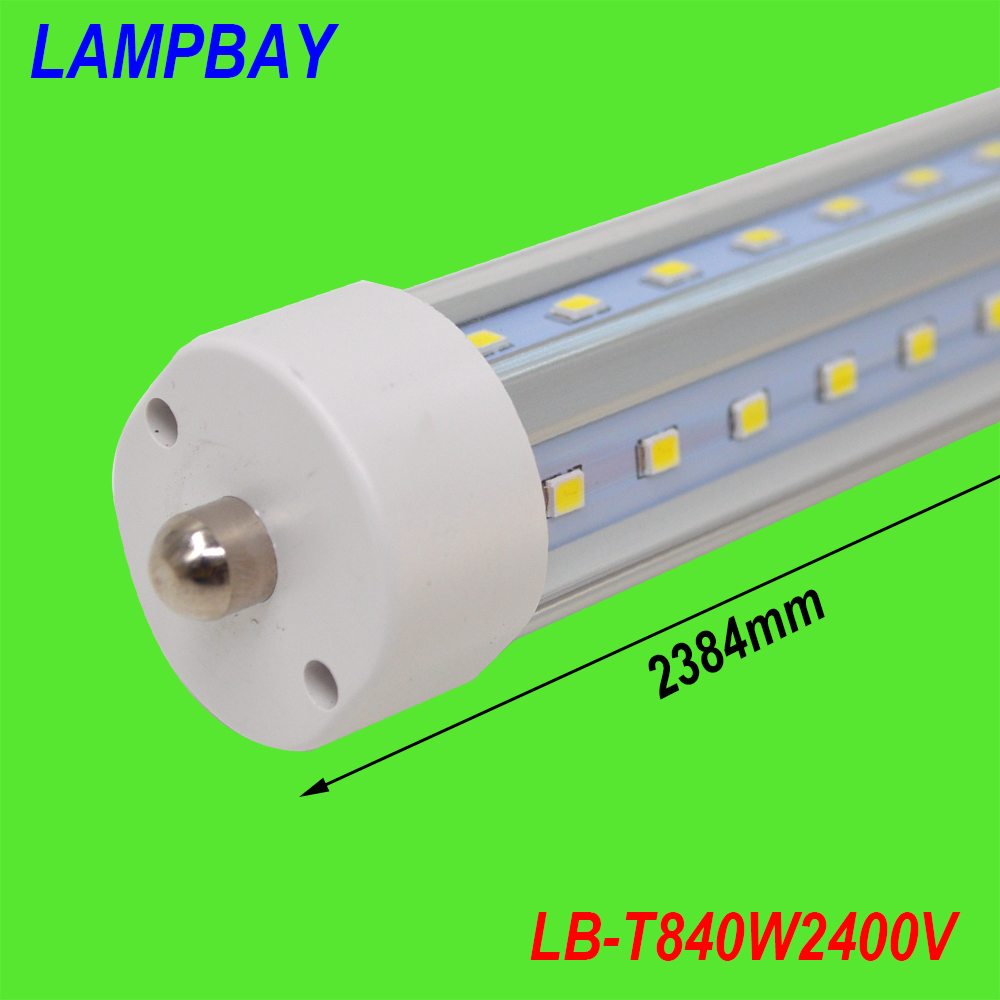 (20 Pack) Free Shipping LED Tube bar V shaped lighting 8ft 48W 2.4M 270 Angle FA8 single pin work with existing fixture 85-277V