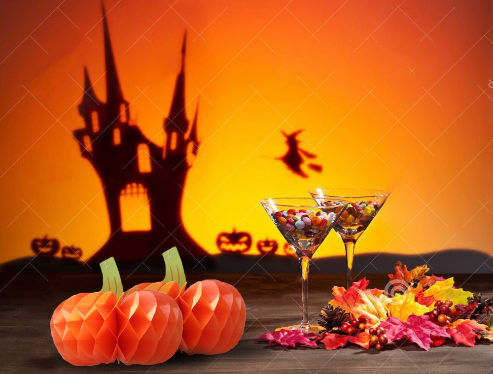 5pcs Pumpkins Halloween Decoration Tissue Paper Fruits Honeycombs Supplies Home&Party&Garden Hanging Craft Countryside Style