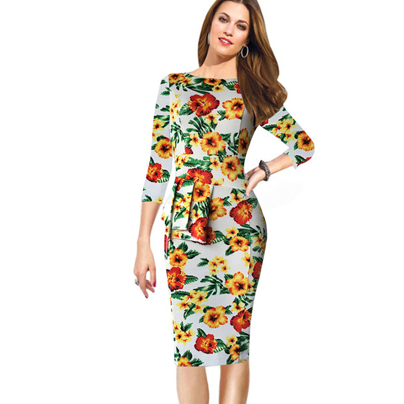 Women Elegant 3/4 Sleeve Floral Print Stretch Bodycon Knee Length Slim Fit Tunic Beautiful Peplum Formal Dress for Party 500099