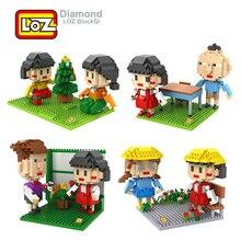 LOZ Diamond Building Block Toys Sakura Momoko Chibi Maruko Japanese Cartoon Action Figures Anime For Children 14+ Gift