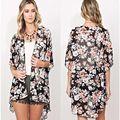 2016 Camisa do Verão Das Mulheres Ethinc Floral Vintage Impressão Blusas Casual Hippie Boho Kimono Cardigan Senhoras Longas Blusas Tops
