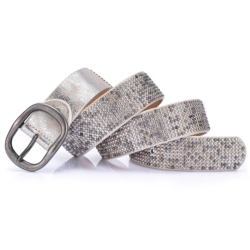Rivet Cowskin Casual Buckle Pin Buckle Belt