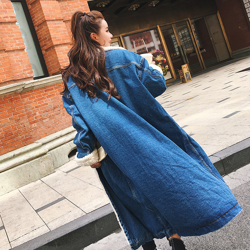 SuperAen Denim Parkas Coat Women 2017 Autumn and Winter New Korean Style Thickened Cotton Parkas Coat Women Long Sleeve Coat factory outlets 2014 new winter in europe and america women british style stitching cotton quilted jacket short parkas coat