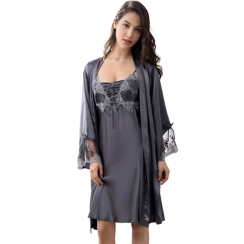 Image 2 - Xifenni Robe Sets Female Sexy Satin Silk Sleepwear Women Lace Embroidery Faux Silk Sleeping Gown Two Piece Bathrobes X9223-in Robe & Gown Sets from Underwear & Sleepwears