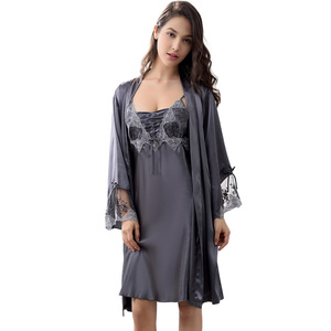 Image 2 - Xifenni Robe Sets Female Sexy Satin Silk Sleepwear Women Lace Embroidery Faux Silk Sleeping Gown Two Piece Bathrobes X9223